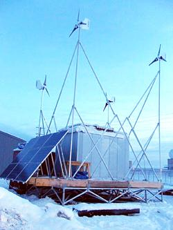 The remote power module stands in its testing location in Barrow, Alaska. (Photo by Hank Statscewich)