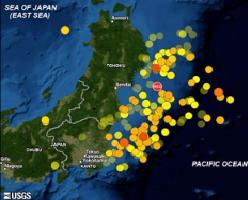 Map showing the 11 March 2011 magnitude 9.0 off Tohoku mainshock and 166 aftershocks of magnitude 5.5 and greater until May 20. Warmer color indicates more recent events. Larger symbol indicates greater quake magnitude. (Modified from figure created by the U.S. Geological Survey)